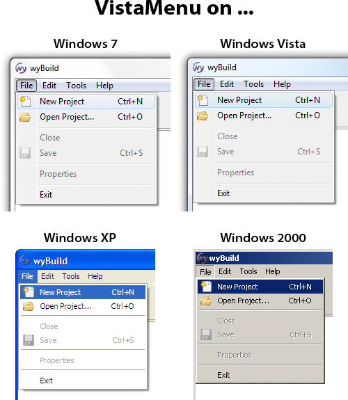 Comparing the appearance of Wyatt's VistaMenu control on 4 different operating systems: Windows 7, Vista, XP, and 2000. On all 4, it looks just like the platform native menus, except with icons!