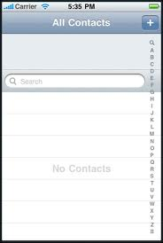 Screenshot of Contacts app showing light gray background