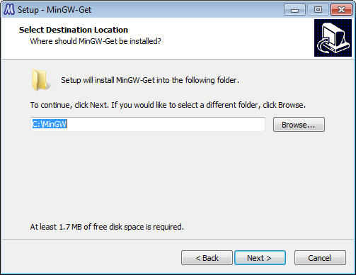 Select directory in MinGW installation