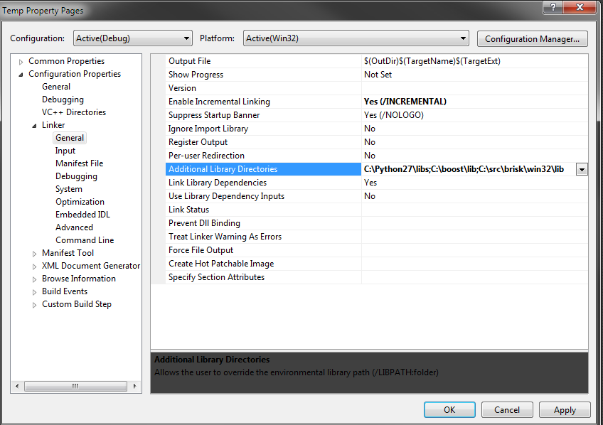 Additional library directories settings